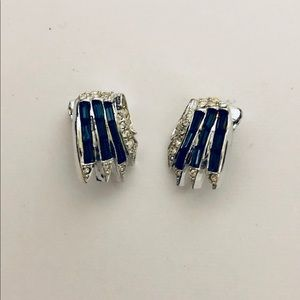 Jewelry - Silverplate CZ & Blue Stone Clip-on Earrings